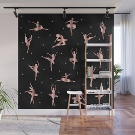 Rose Gold Ballet Positions Wall Mural