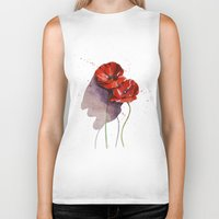 poppies Biker Tanks featuring Poppies by Alina Rubanenko