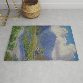 A Shower in the Mountains & Lily Pads, Manoa Valley, Hawaii landscape by Anna Woodward Rug