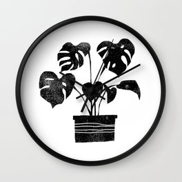 House plant linocut zen yoga black and white minimalist art prints for home Wall Clock