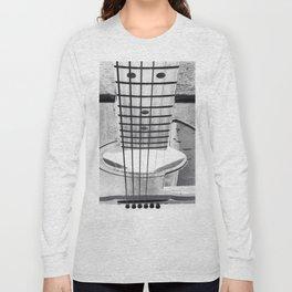 Guitar Strings - Black and White Long Sleeve T-shirt