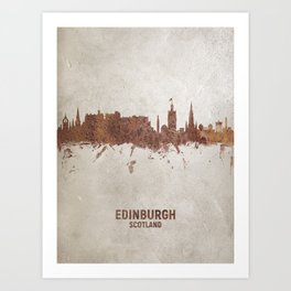 Edinburgh Scotland Rust Skyline Art Print
