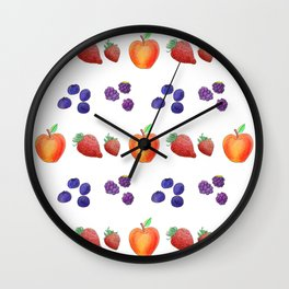 Watercolour Autumn Fruits, Strawberry, Blueberry, Apple and Blackberry Wall Clock