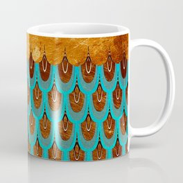 Copper Metal Foil and Aqua Mermaid Scales- Abstract glitter pattern Coffee Mug