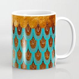 Copper Metal Foil and Aqua Mermaid Scales- Abstract glitter pattern  Coffee Mug