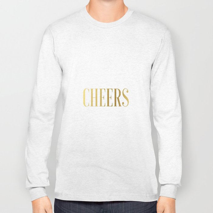 CHEERS BAR ART, Cheers Sign, Cheers Wall Art,Cheers Home Bar Decor,Alcohol Sign,Drink Sign,Typograp Long Sleeve T-shirt
