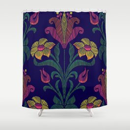 Flowers embroidery Shower Curtain
