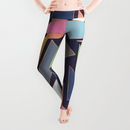 Modern Contemporary Gold Strokes Colorful Triangles Leggings