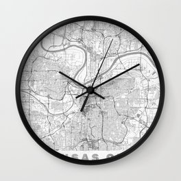 Kansas City Map Line Wall Clock