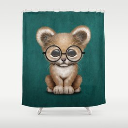 Cute Baby Lion Cub Wearing Glasses on Blue Shower Curtain