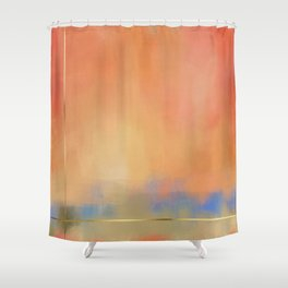 Abstract Landscape With Golden Lines Painting Shower Curtain