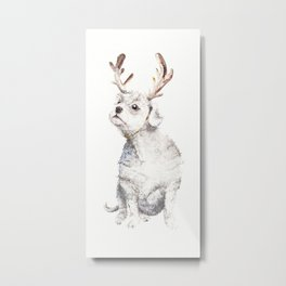 Christmas dog in antlers Metal Print
