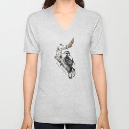 Downy Woodpecker Unisex V-Neck