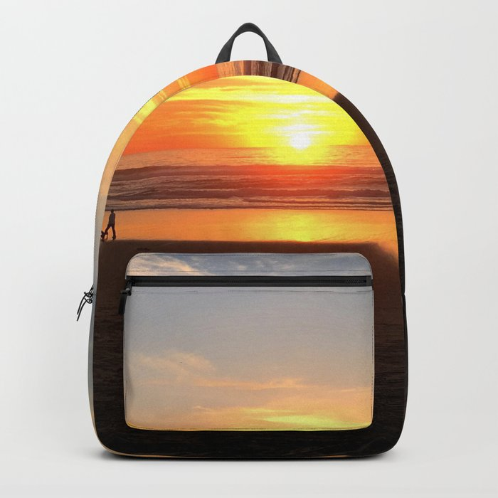 WALKING ON THE BEACH AT SUNSET Backpack