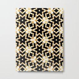 Art Deco Gold Foil Star Pattern Metal Print