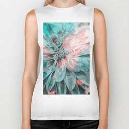 Abstract Floral Teal Biker Tank