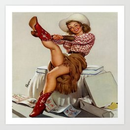 Cowgirl Putting On Red Boots Kunstdrucke