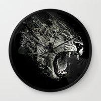 fierce Wall Clocks featuring Fierce by Ismael Sandiego
