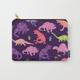Purple Pink Watercolor Dinosaur Silhouette Pattern Carry-All Pouch