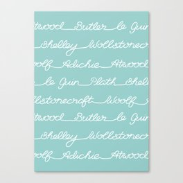 Feminist Book Author Surname Hand Written Calligraphy Lettering Pattern - Blue Canvas Print