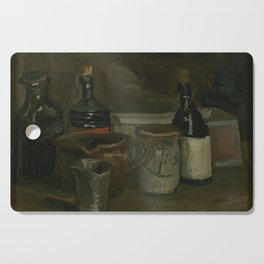 Still Life with Bottles and Earthenware Cutting Board