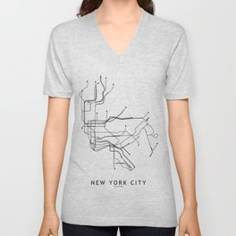 New York City White Subway Map Unisex V-Neck