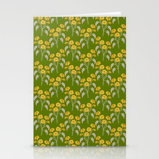Flowers Green Pattern Stationery Cards