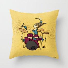Crazy drummer Throw Pillow