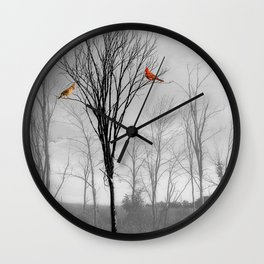 Red birds Cardinals Tree Fog A112 Wall Clock