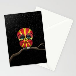 Baby Owl with Glasses and Macedonian Flag Stationery Cards