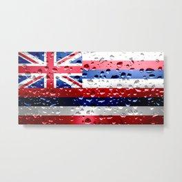 Flag of Hawaii - Raindrops Metal Print