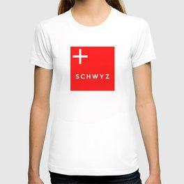 Schwyz region switzerland country flag name text swiss T-shirt