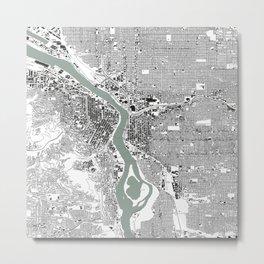 Portland, OR City Map Black/White Metal Print