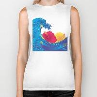 hokusai Biker Tanks featuring Hokusai Rainbow & Hibiscus_YR by FACTORIE