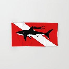 DIVER DOWN - great white shark dive Hand & Bath Towel