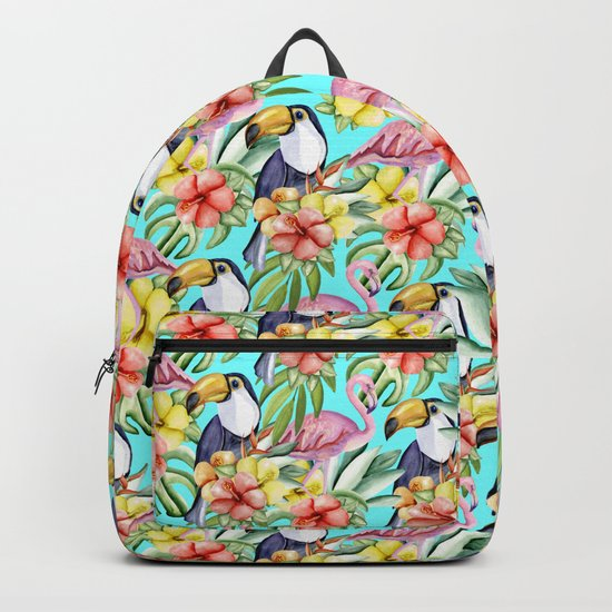 Tropical birds and flowers Backpack