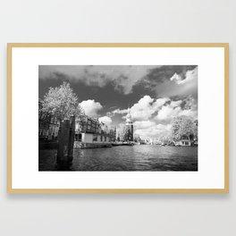 Montelbaan tower on the banks of canal Oudeschans in Amsterdam, Netherlands Framed Art Print