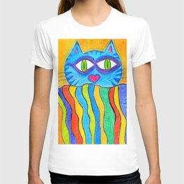 Cat holds a rainbow blanket T-shirt