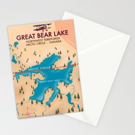 Great Bear Lake, canada, map travel poster Stationery Cards