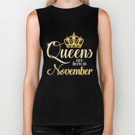 Queens are Born in November Women Girl Birthday Celebration Biker Tank