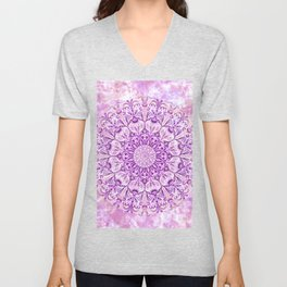 Lavender & Lilac Watercolor Mandala , Relaxation & Meditation Circle Pattern Unisex V-Neck