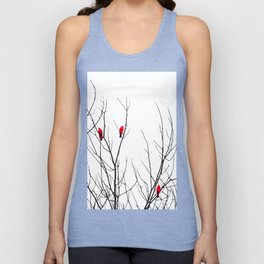 Artistic Bright Red Birds on Tree Branches Unisex Tank Top