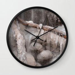 Frozen Winter Waterfall Wall Clock