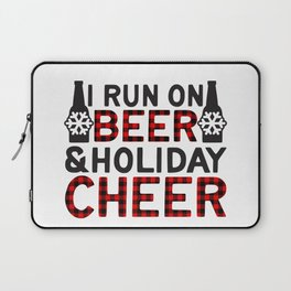 I Run On Beer & Holiday Cheer, Funny, Quote Laptop Sleeve