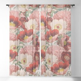 Vintage Garden #society6 Sheer Curtain