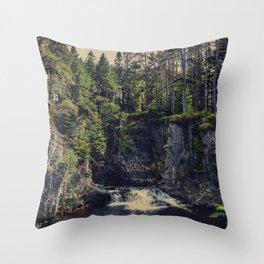 Waterfall, Scotland, woods, forest, landscape photography, wall art, Throw Pillow