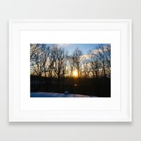 rileigh smirl Framed Art Prints featuring Snowy Sunset by Rileigh Smirl