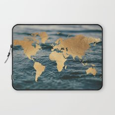 Gold Map in Water Laptop Sleeve