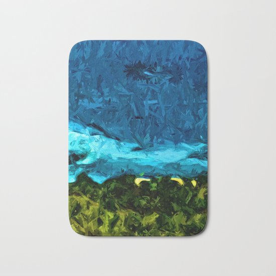 Blue Sea with Turquoise Waves and Green Grass Bath Mat