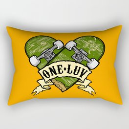 One Luv - Bored Heart - Olive Rectangular Pillow